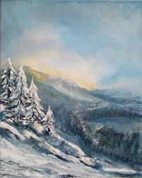 Pejzaż zimowy - obrazy akryl - Maria Twardoch - Galeria Sztuki Haloart