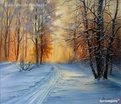 Pejzaż Zimowy- Słońce, Las, obraz olejny, L. Olbrycht Nowy Sącz -  Sprzedajemy.pl