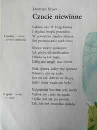 """Proszę o analizę wiersza Leopolda Staffa """"Czucie niewinne"""". Opisać budowę  utworu, podmiot liryczny, - Brainly.pl"""