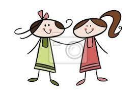 Naklejka Kolorowy rysunek: Dwie dziewczyny wesołej na wymiar • dziewczyna,  ładny, dziecko • REDRO.pl