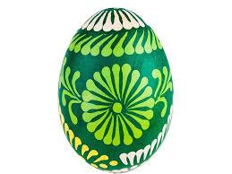 Ręcznie malowana pisanka - kurpiowski wzór ludowy - zielona - Homebook