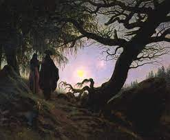 Kobieta i meżczyzna kontemplujący księżyc - Caspar David Friedrich (wzór  FRIEDRICH25)